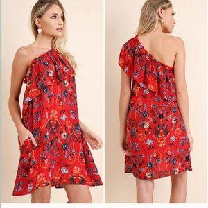 NWT Umgee Single Shoulder Ruffled Dress